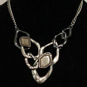 Fused Ring Silver Tones & Rhinestone Necklace